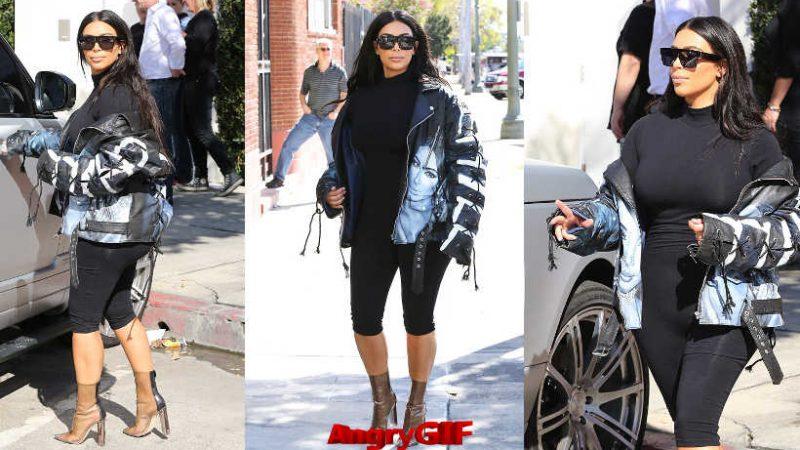 Kim Kardashian in biker jacket AngryGIF